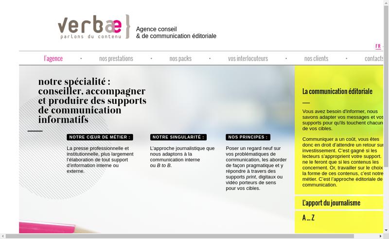 Capture d'écran du site de Verbae