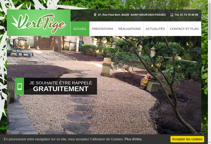 Capture d'écran du site de Vert Tige