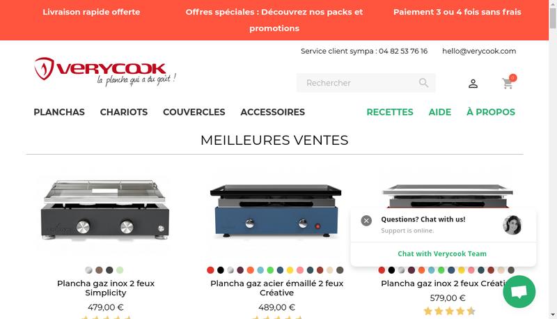 Capture d'écran du site de Verycook