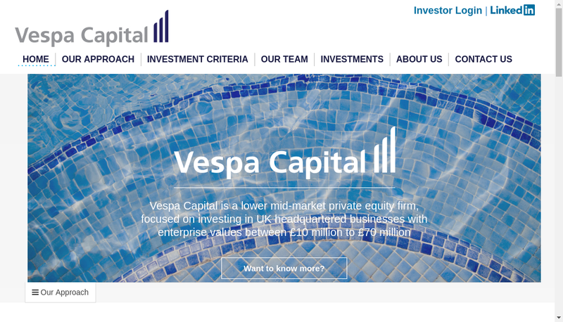 Capture d'écran du site de Vespa Capital France