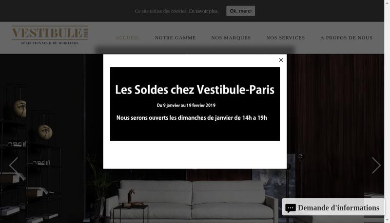 Capture d'écran du site de Vestibule Paris