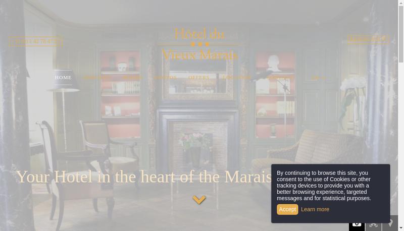Capture d'écran du site de Hotel du Vieux Marais