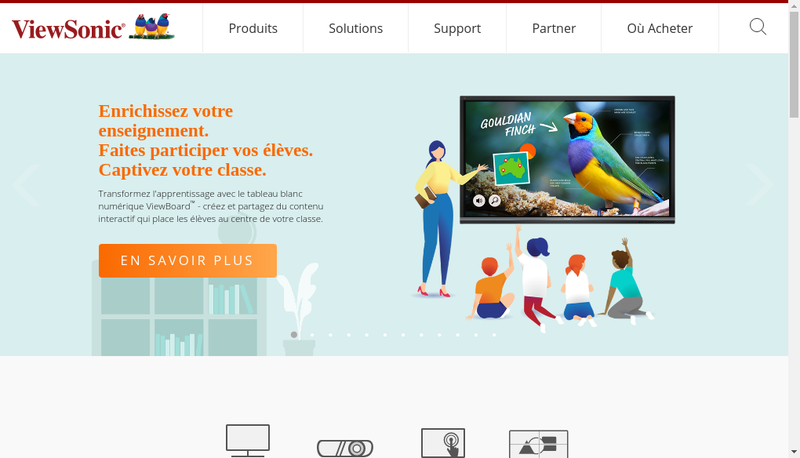 Capture d'écran du site de Viewsonic