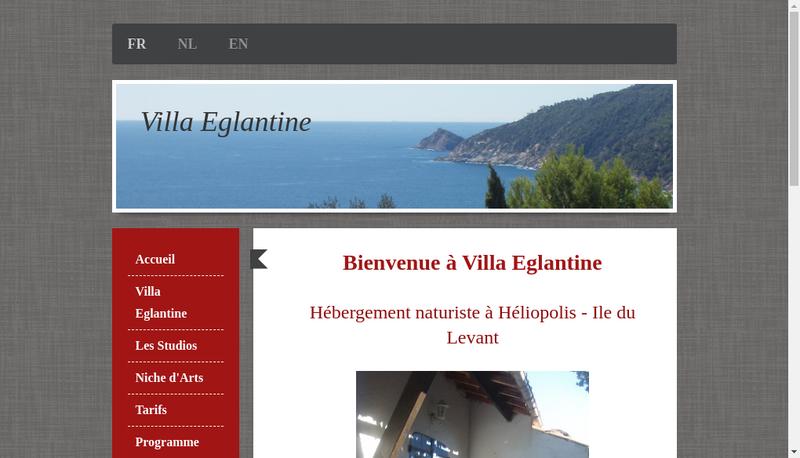 Capture d'écran du site de Villa Eglantine