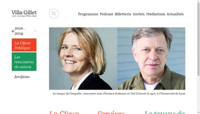Capture d'écran du site de Ass de Gestion de la Villa Gillet