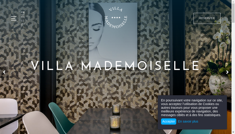 Capture d'écran du site de Villa Mademoiselle