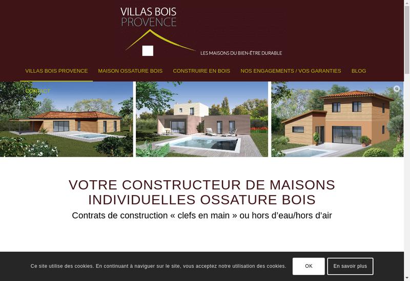 Capture d'écran du site de Villas Bois Provence