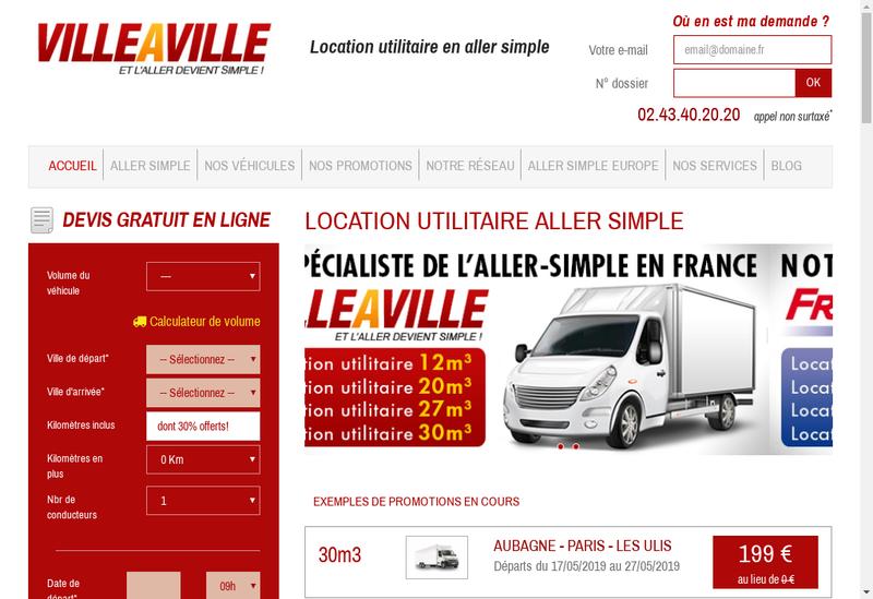 Capture d'écran du site de Villeaville.com Vehicules Utilitaires
