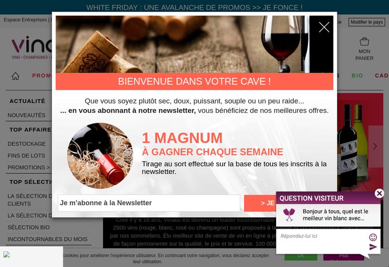 Capture d'écran du site de Vinatis