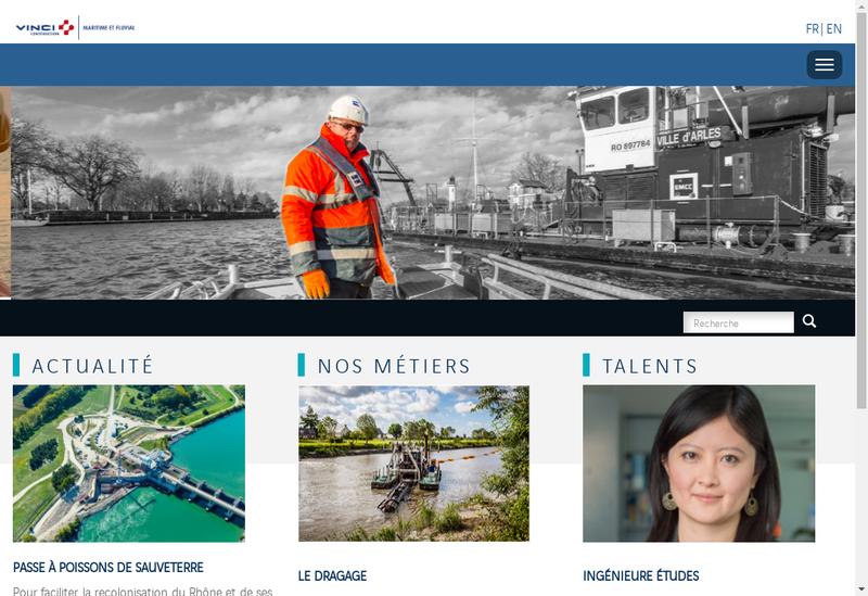 Capture d'écran du site de Vinci Construction Maritime et Fluvial