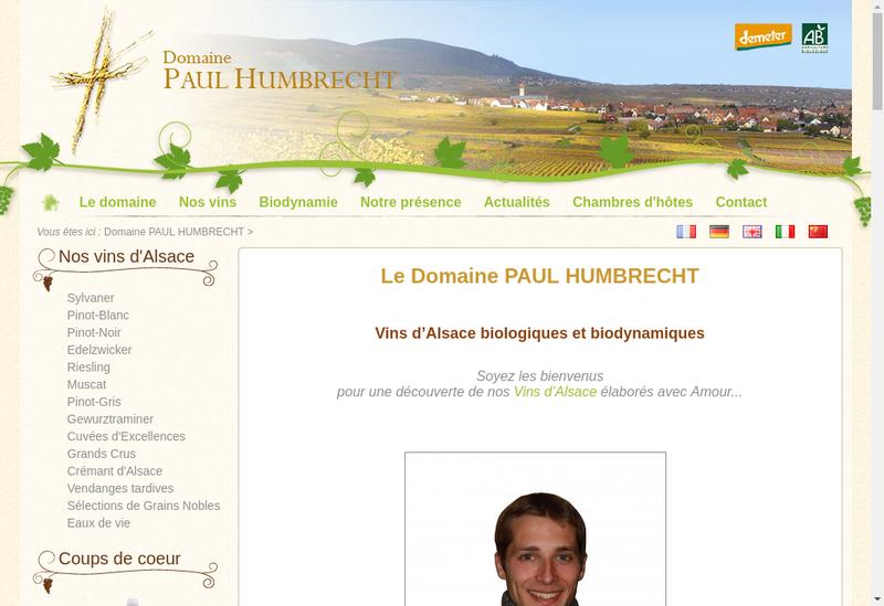 Capture d'écran du site de EARL Domaine Paul Humbrecht