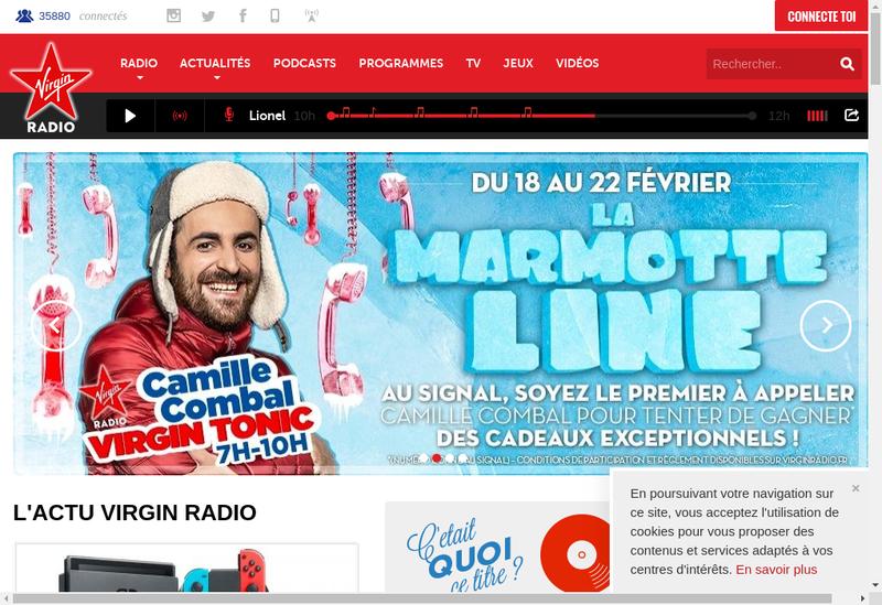 Capture d'écran du site de Virgin Radio