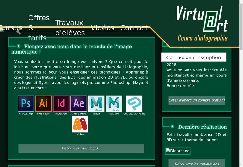 Capture d'écran du site de Virtual Art