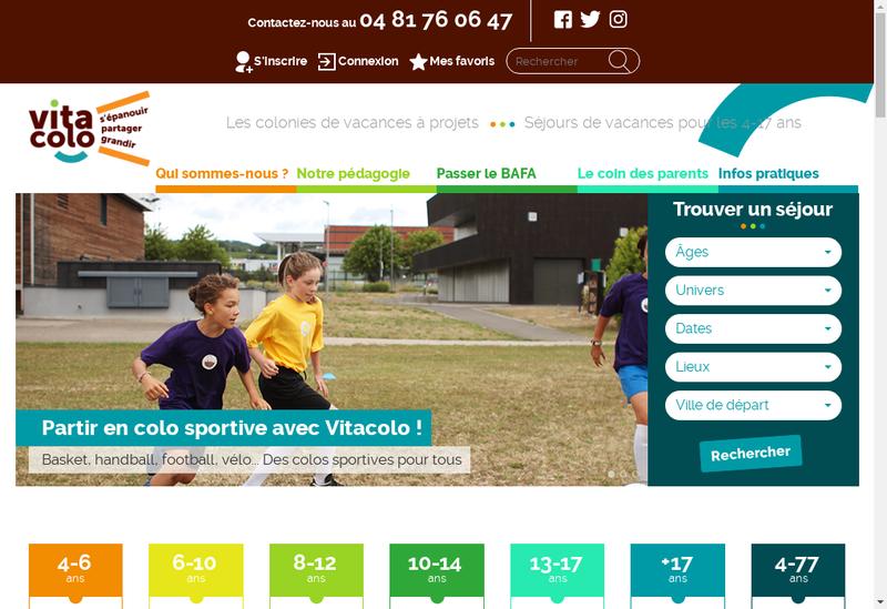 Capture d'écran du site de Vitacolo