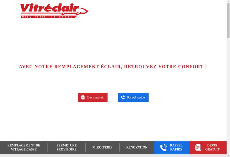 Capture d'écran du site de Vitreclair