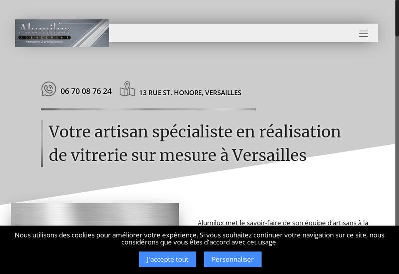 Capture d'écran du site de Alumilux