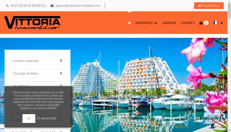 Capture d'écran du site de Vittoria Immobilier