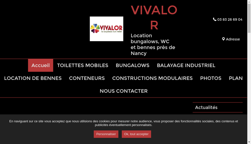 Capture d'écran du site de Vivalor