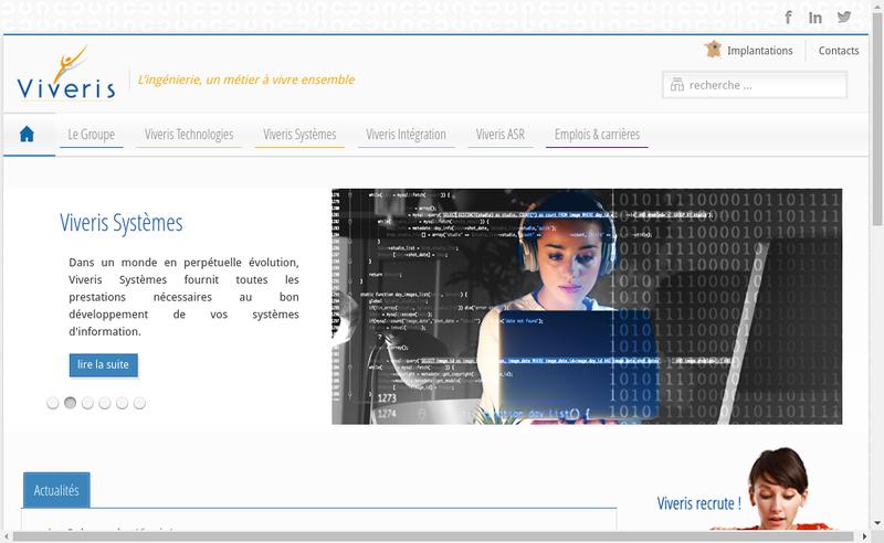 Capture d'écran du site de Viveris