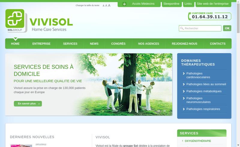 Capture d'écran du site de Vivisol France