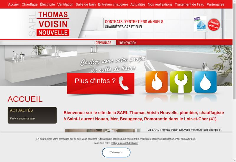 Capture d'écran du site de SARL Thomas Voisin Nouvelle