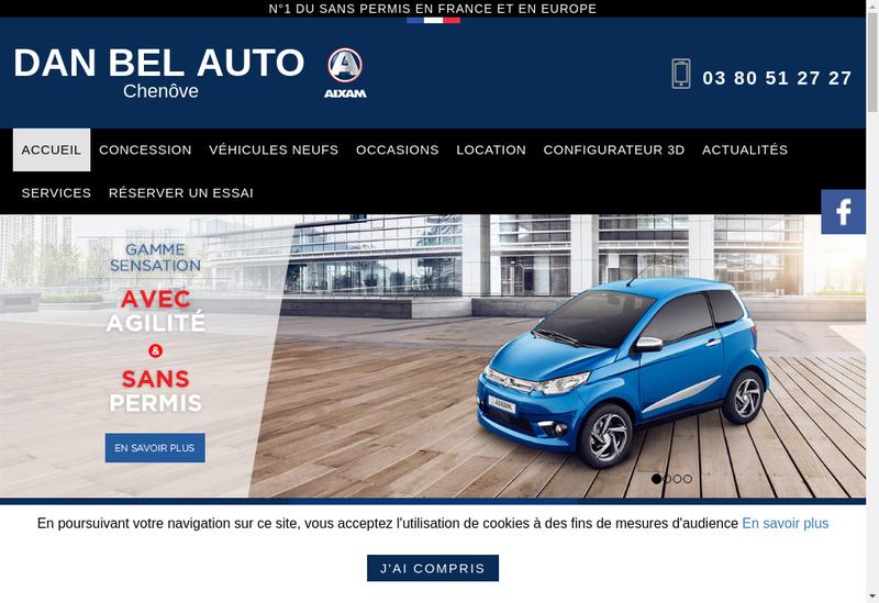 Capture d'écran du site de Dan Bel Auto