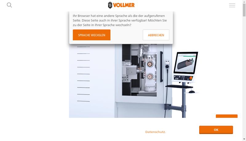 Capture d'écran du site de Vollmer France
