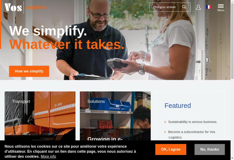 Capture d'écran du site de Vos Logistics Lyon