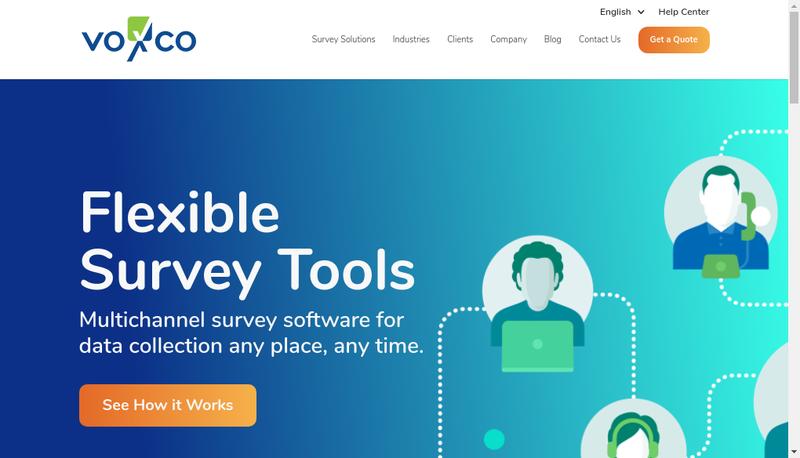 Capture d'écran du site de Voxco