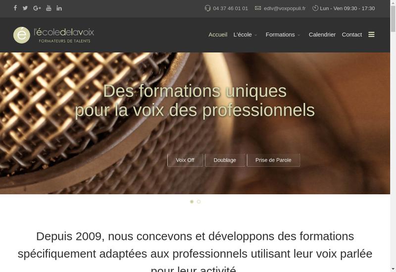 Capture d'écran du site de L'Ecole de la Voix
