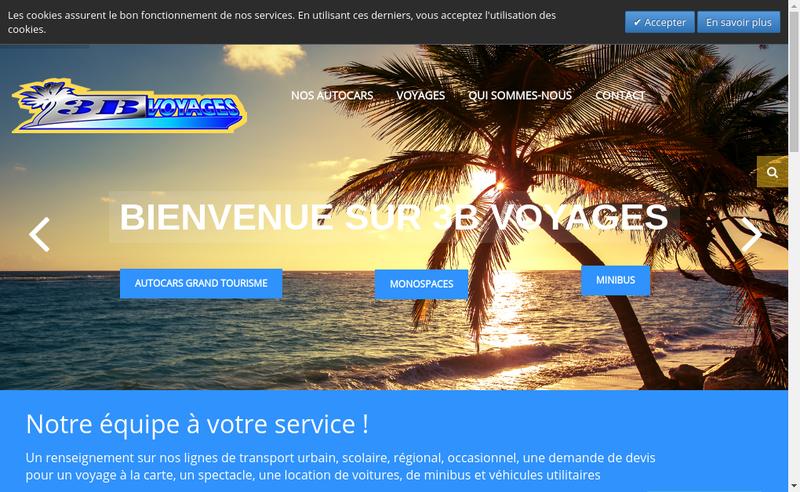 Capture d'écran du site de 3B Voyages