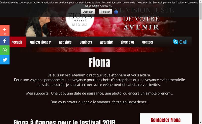 Capture d'écran du site de Fiona