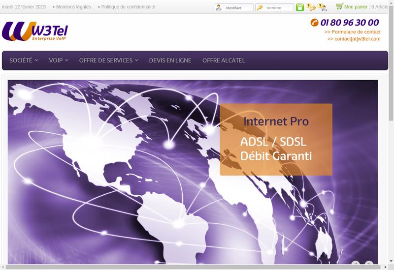 Capture d'écran du site de W3Tel