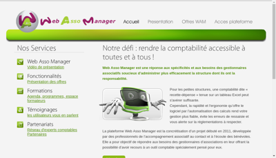 Capture d'écran du site de Web Asso Manager