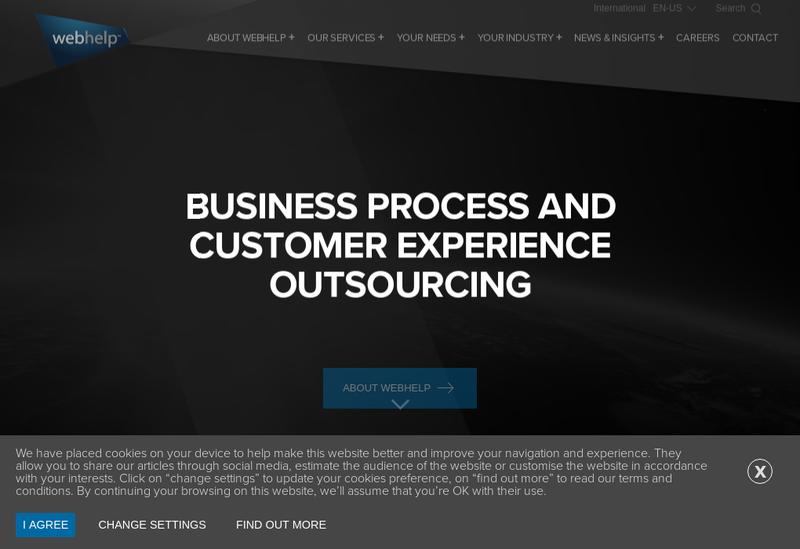 Capture d'écran du site de Webhelp Digital And Marketing Services