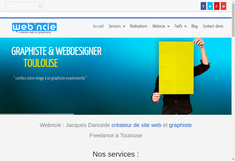 Capture d'écran du site de Webncie