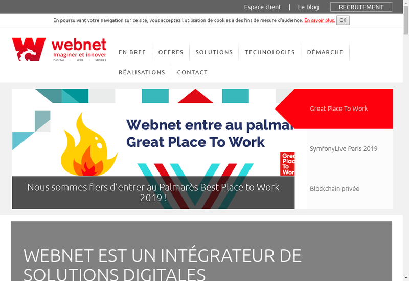 Capture d'écran du site de Webnet Developpement