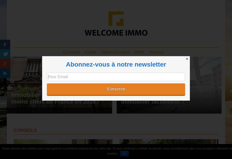 Capture d'écran du site de Welcome Immo