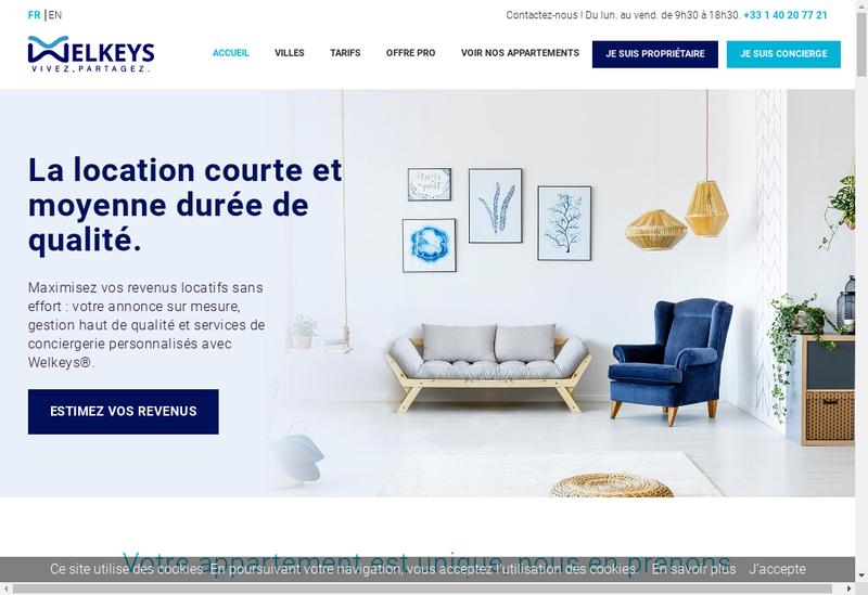 Capture d'écran du site de Welkeys