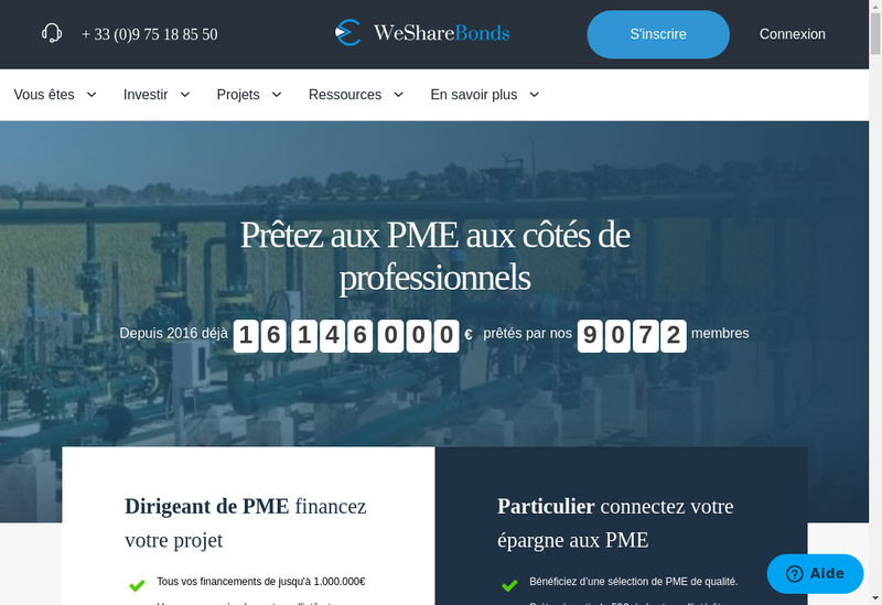 Capture d'écran du site de WeShareBonds