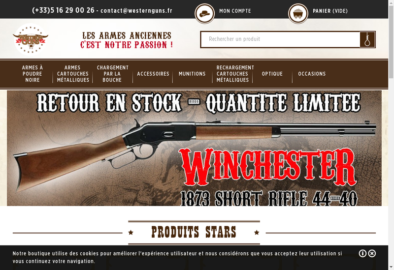Capture d'écran du site de Guns & Co