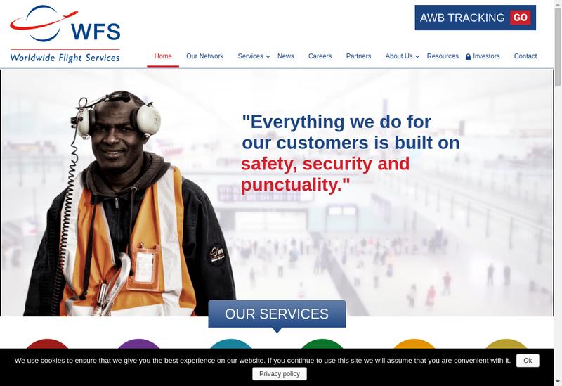 Capture d'écran du site de Wfs Global