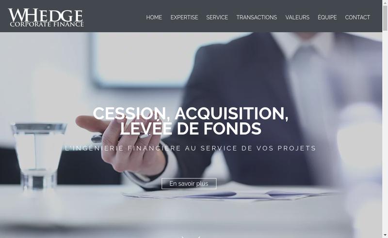 Capture d'écran du site de Whedge Corporate Finance