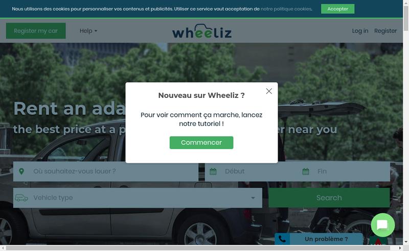 Capture d'écran du site de Wheeliz