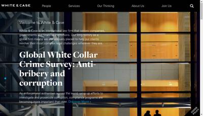 Capture d'écran du site de White & Case Services
