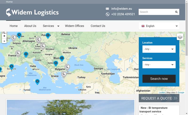 Capture d'écran du site de Widem Logistique France