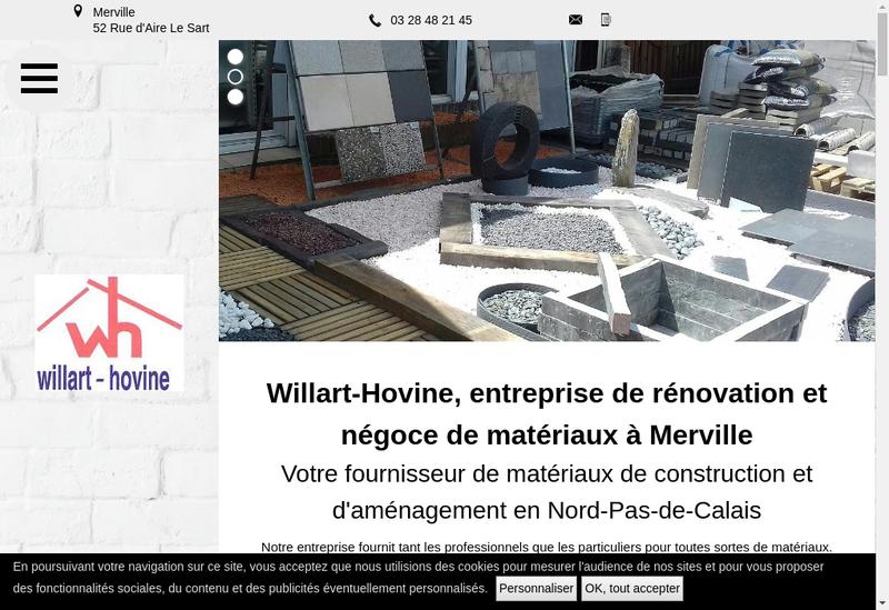 Capture d'écran du site de SA Willart Hovine