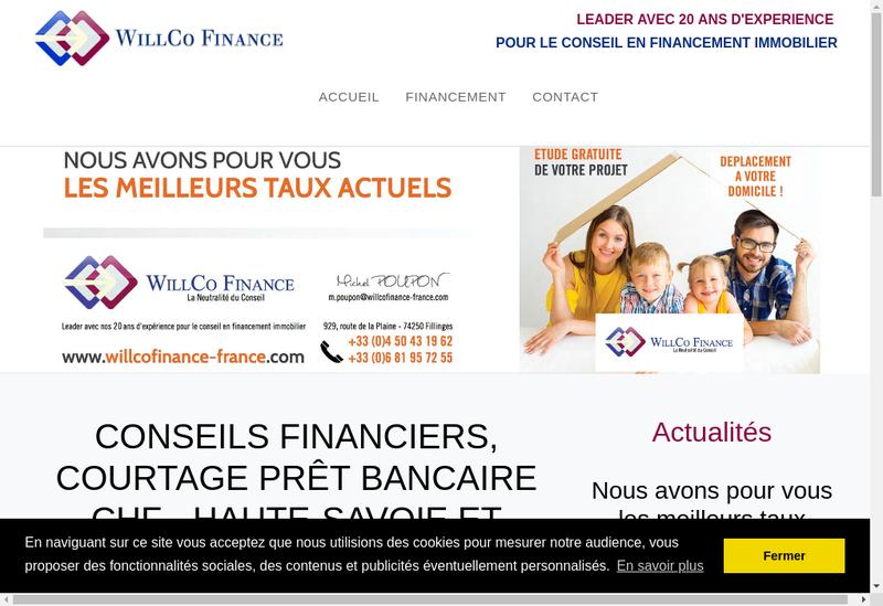 Capture d'écran du site de Willco Finance