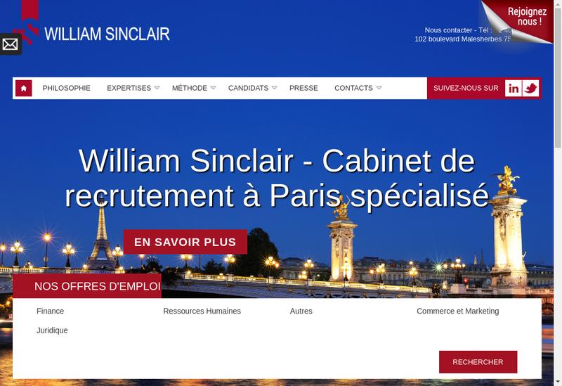 Capture d'écran du site de William Sinclair Recrutement