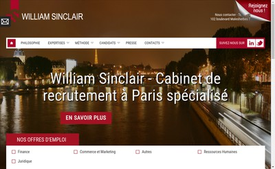 Site internet de William Sinclair Recrutement